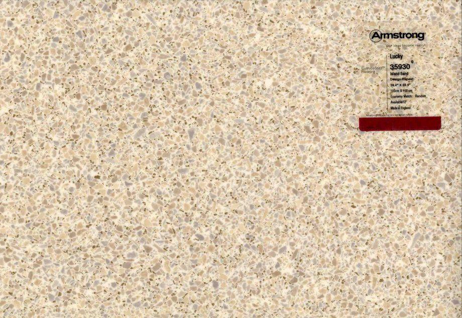 Linen and terrazzolook vinyl sheet flooring in aqua and