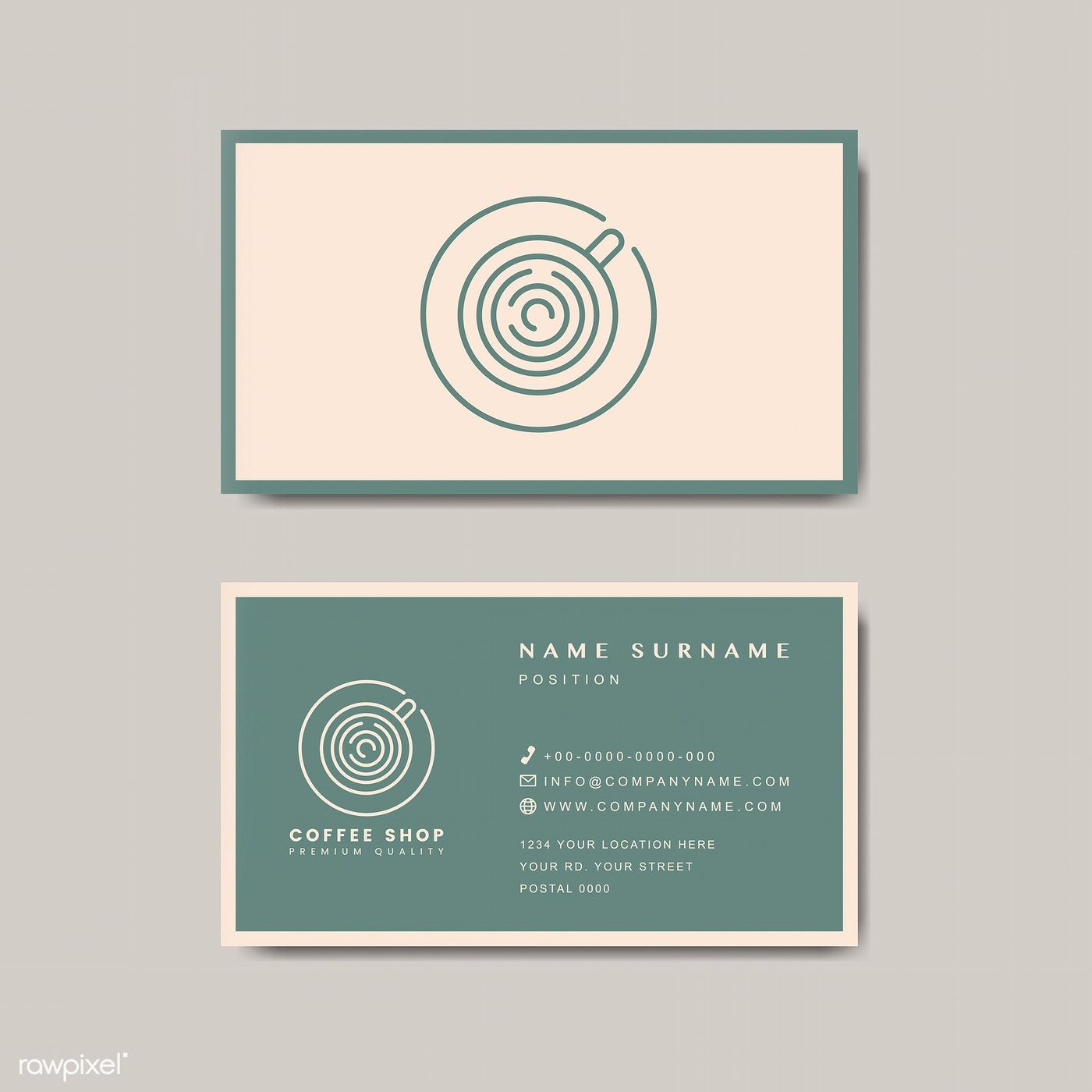 Coffee Shop Business Card Template Vector Free Image By Rawpixel