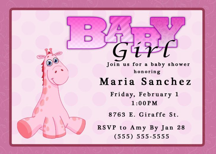 Stunning Giraffe Baby Girl Shower Invitation Template Design Black