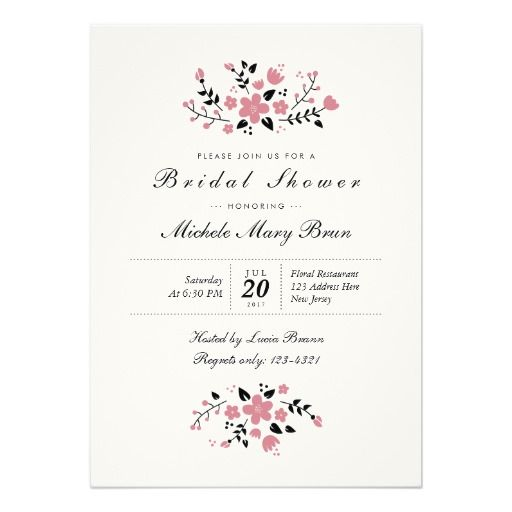 Pretty Floral Modern Stylish Bridal Shower Invite