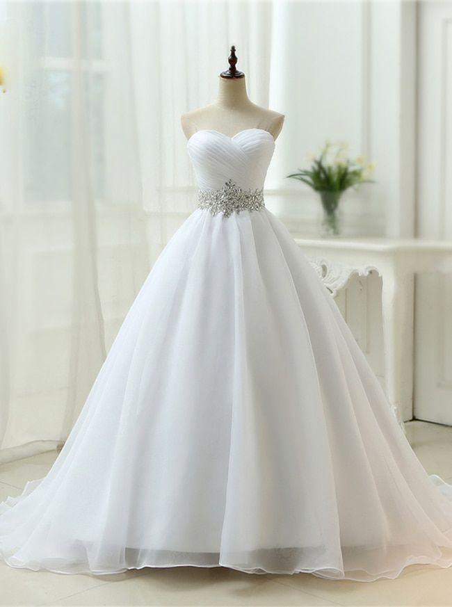 White Wedding Dresses,Strapless Bridal Dress,Organza Wedding Dress,11132
