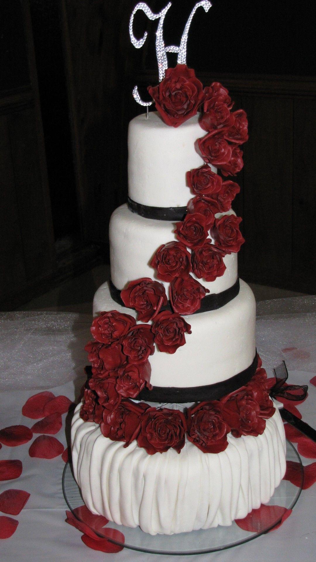 Rose Waterfall Wedding Cake