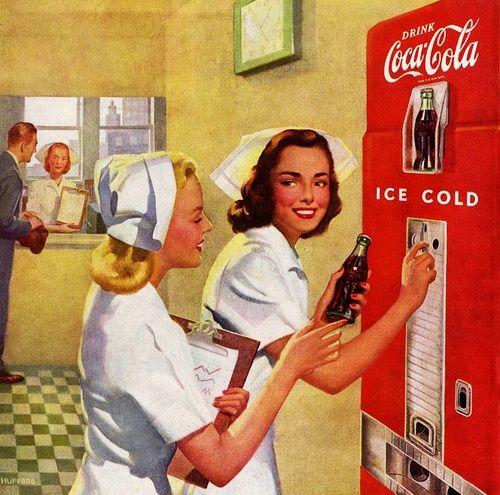 Vintage Advertising Art | Vintage Advertising / Work Refreshed, Coca Cola Ad Detail 1948, art by ...