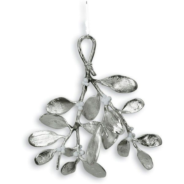 "Michael Aram ""Mistletoe"" Ornament ($49) ❤ liked on Polyvore featuring home, home decor, holiday decorations, christmas, no color, christmas holiday decorations, mistletoe ornament, christmas ornaments, christmas home decor and michael aram ornaments"
