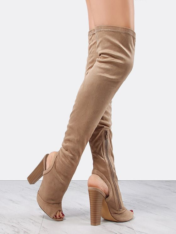 Online shopping for Suede Stacked Heel Tall Boots TAUPE from a great selection of women's fashion clothing & more at MakeMeChic.COM.