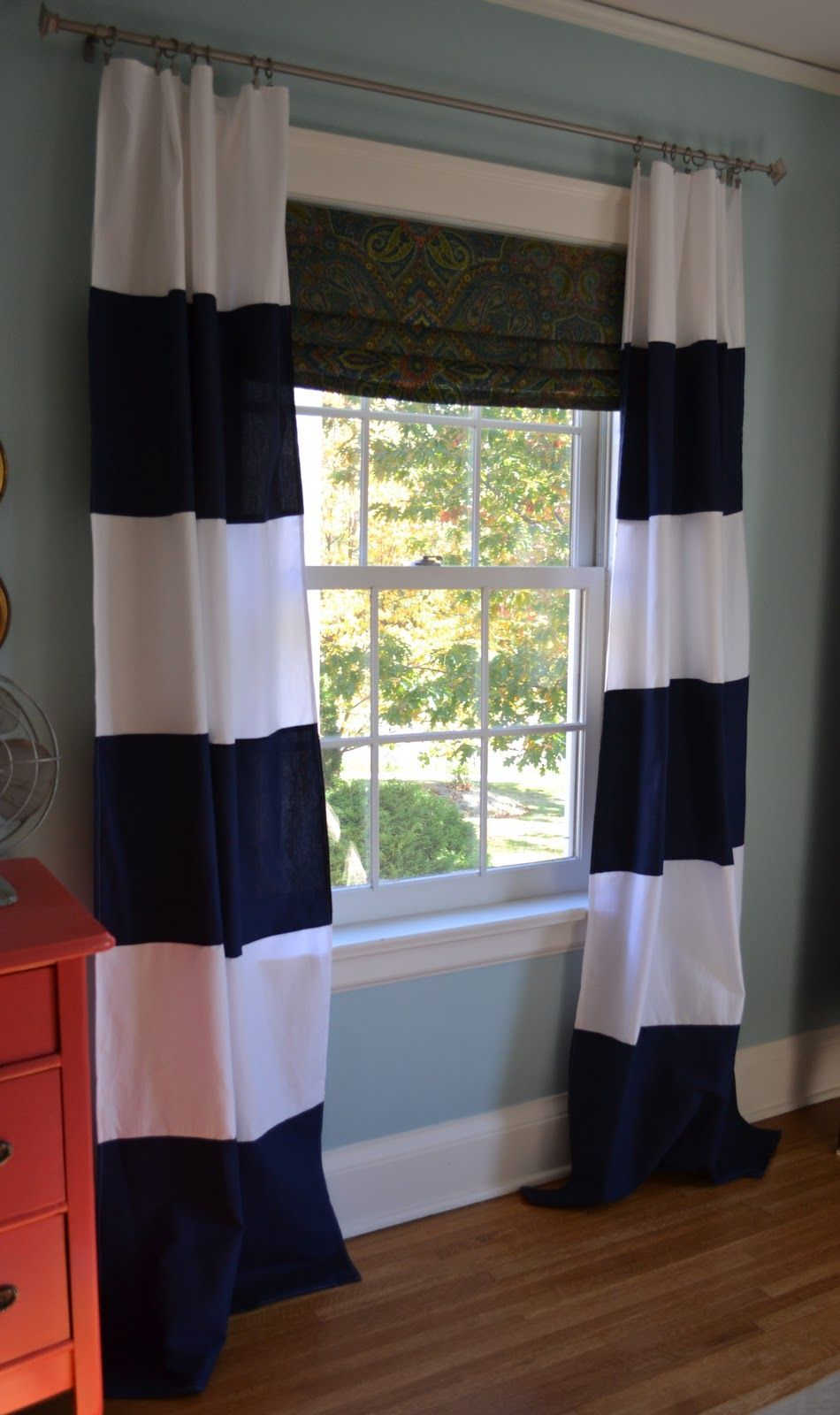 Navy Blue And White Striped Curtain Panels I Want These For Judah 39 S Room Gotta Find Where They