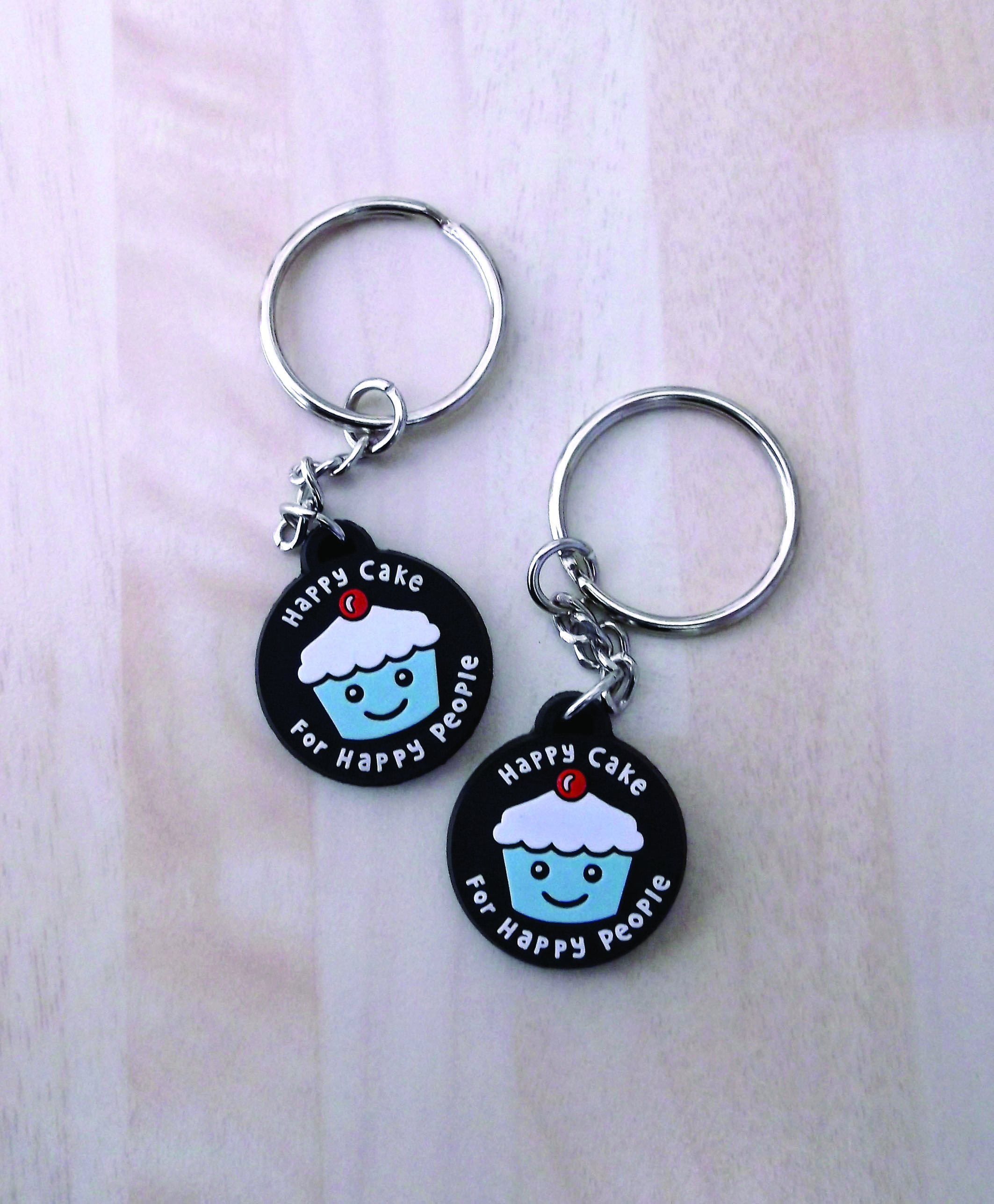 our ever so cute design only for happy people, available on a soft vinyl keyring.