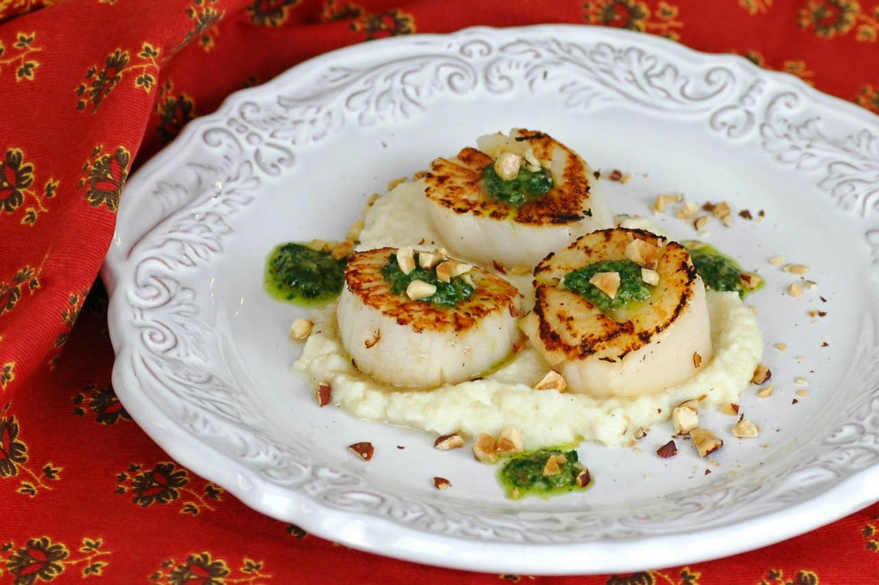 Savoring Time in the Kitchen: Seared Sea Scallops with Celery Root Puree, Sauce Verte and Hazelnuts~