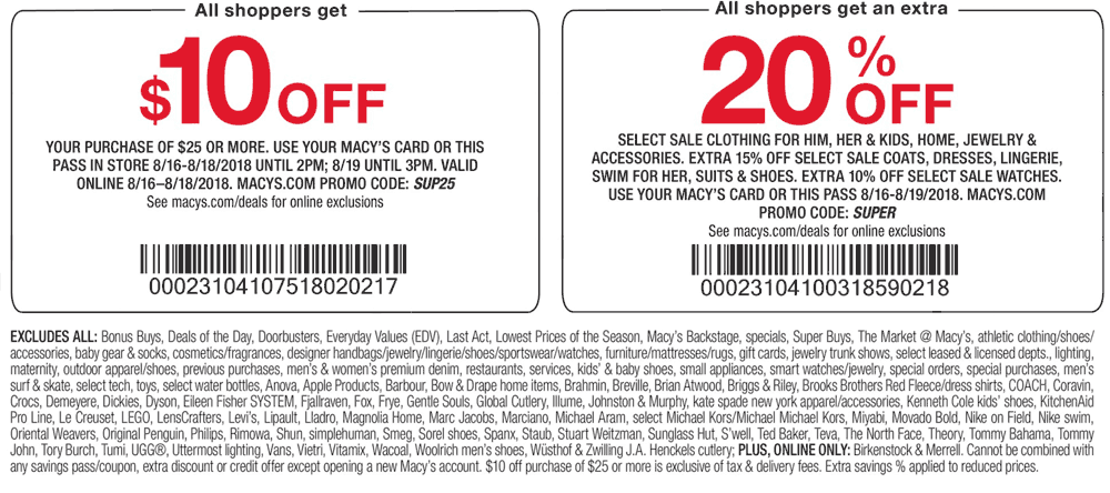 Pinned August 19th 10 Off 25 Today At Macys Or Online Via Promo Code Sup25 Thecouponsapp Shopping Coupons Macys Card Macys Coupons
