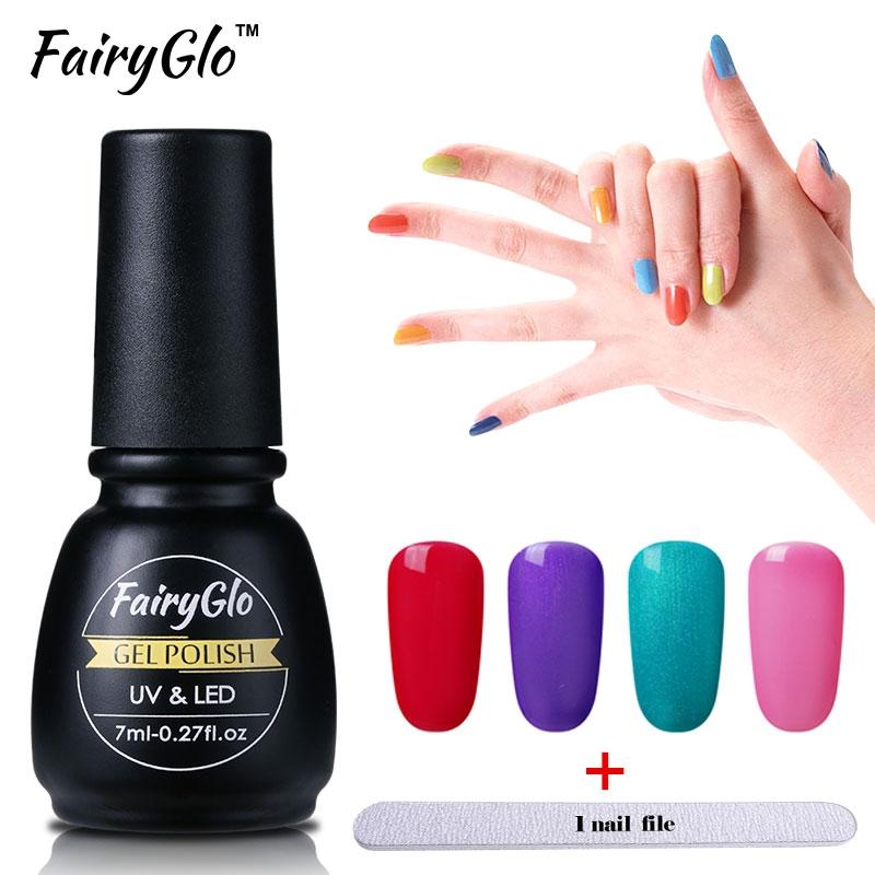 1.37$ Buy here - FairyGlo 1pcs Gel Nail Polish+1 Buffer File Nail ...