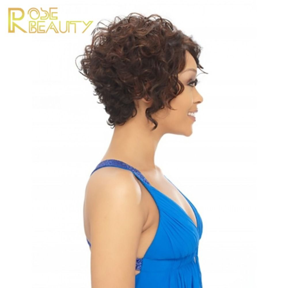 Rose beauty fashion hair styling short curly wig for sexy women half