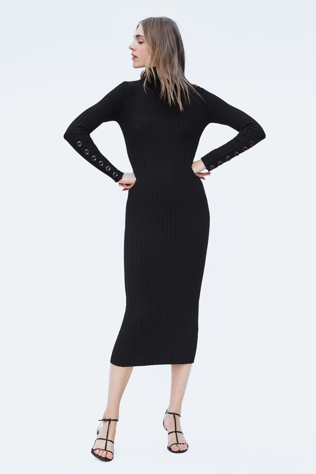 VESTIDO PUNTO BOTONES   ZARA   Dresses, Knit dress und Fashion dresses bbaaa3a552