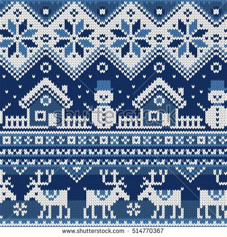 Christmas Seamless pattern with ornaments of a Jacquard knitting ...