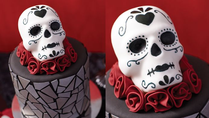 Wilton Course 3  Gum Paste | Halloween Skull Cake Online Class | Cake Decorating Class