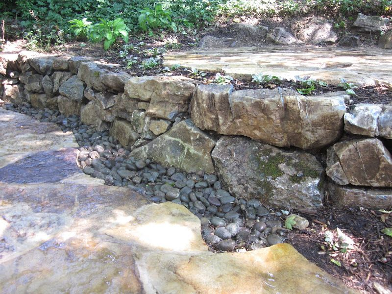 moss rock retaining wall random sizes Landscaping Ideas