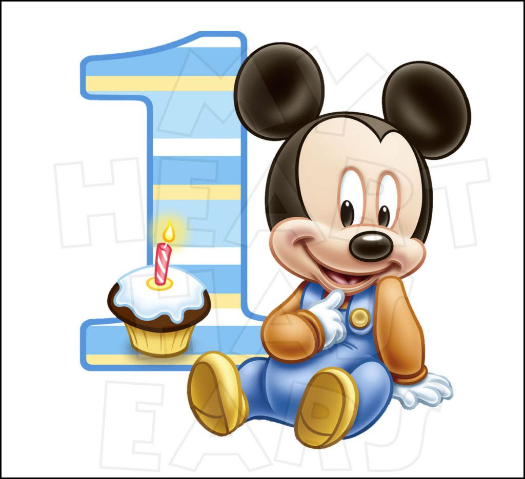 Baby Mickey Mouse 1st Birthday Instant Download Digital Clip Art