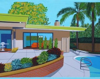 Mid century modern eames retro original painting palm for Pool design 1970
