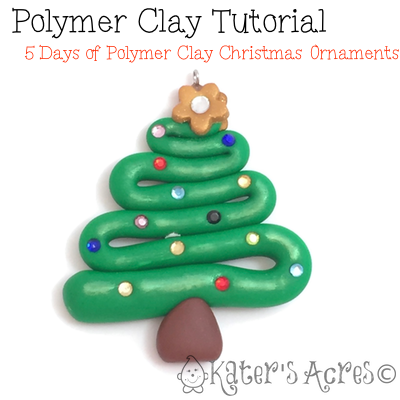 5 Days FREE Polymer Clay Ornament Tutorials - Christmas Tree by KatersAcres  | CLICK to see how to make your own - 5 Days Of Ornaments: Christmas Tree Polymer Clay Tutorial Polymer