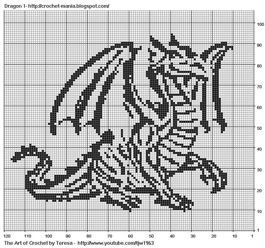 Free Filet Crochet Charts and Patterns: Filet Crochet Dragon 1 ...