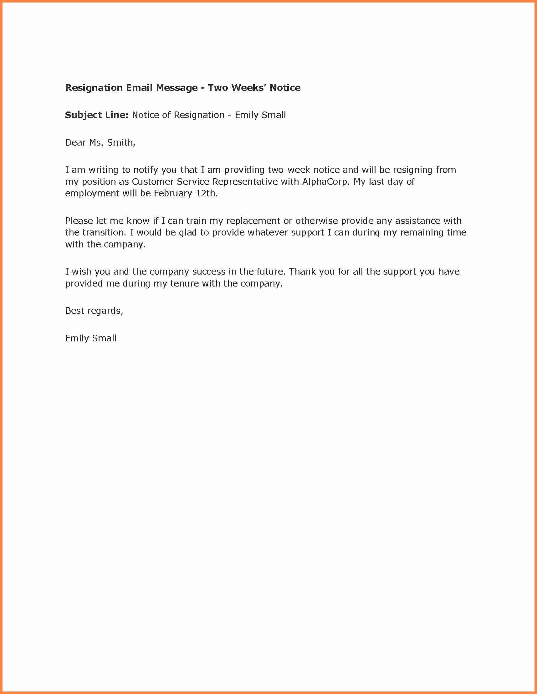 40 Two Week Resignation Letter Business Letter Example Letter