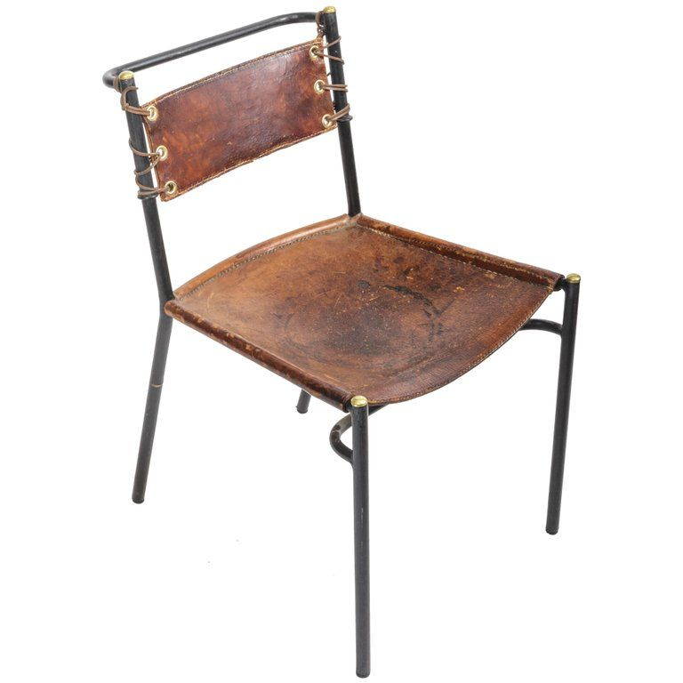 Jacques Adnet Metal Leather The Style Of Adnet French Side Chair