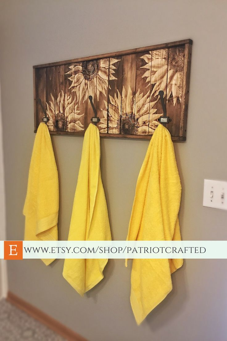 Large carved wood sunflower wall art rustic wooden coat towel hanger
