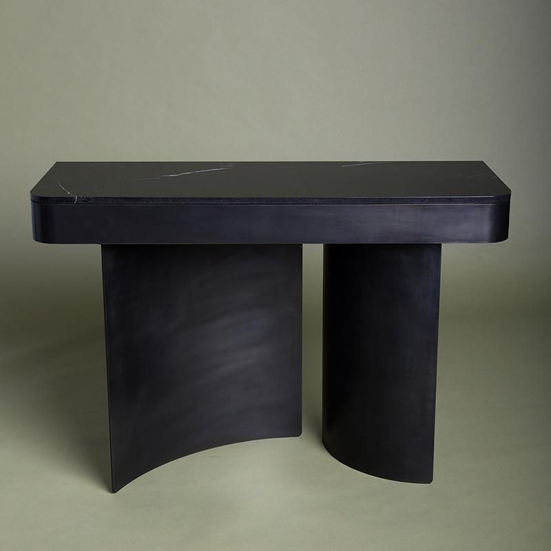 Kin Company Contemporary Blackened Steel Crescent Console With Black Marble Top For Sale Image 4 Of 4 Blackened Steel Black Marble Marble Top