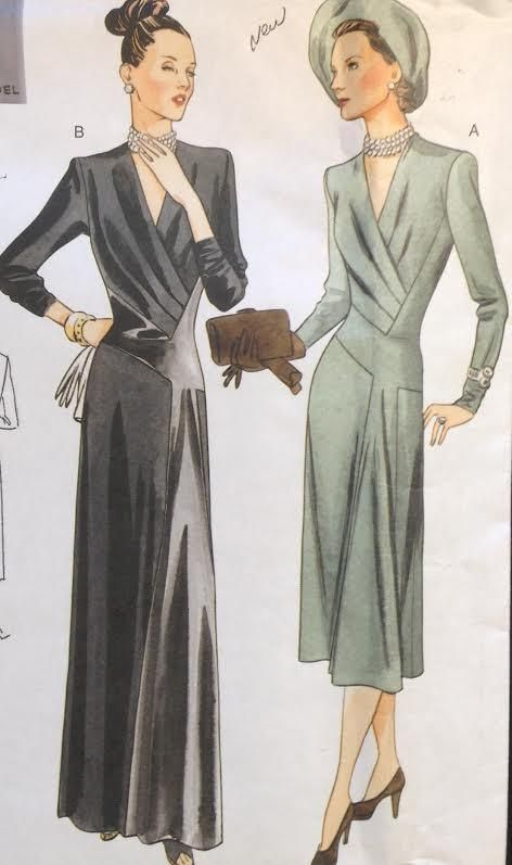 "34"" UC Vtg 1947 Design Vogue 2354 Dress Evening Gown Retro Reproduction A-Line"