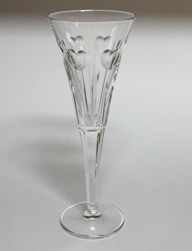 1 Waterford Millennium Fluted Champagne Glass Love Hearts Toasting Crystal Vintage Stemware Flute Glass