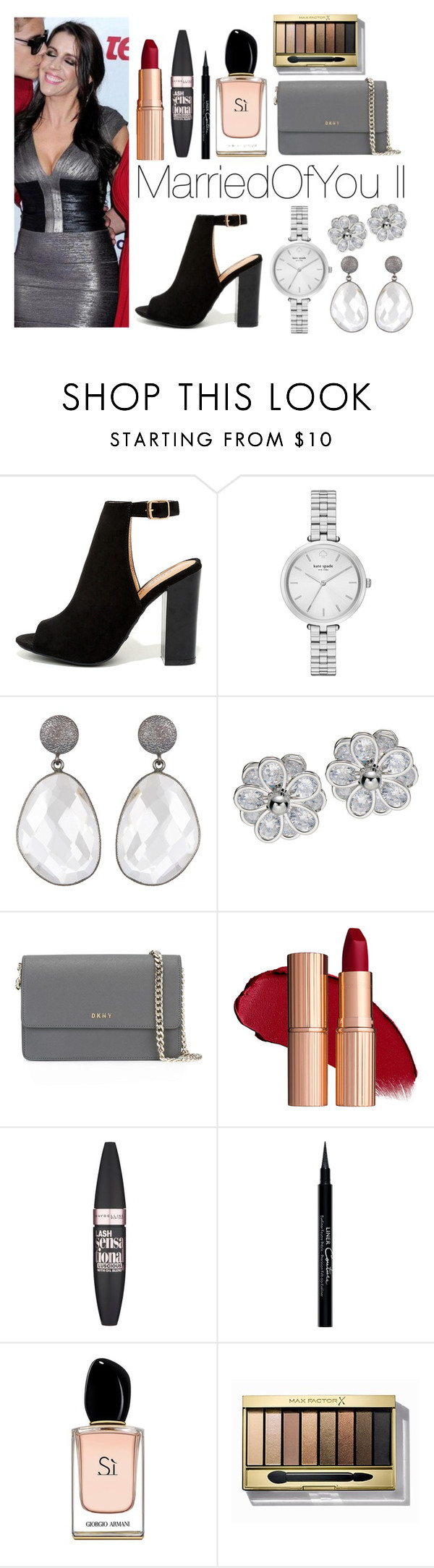 """Marriedofyou II"" by meliiissav ❤ liked on Polyvore featuring Bamboo, Kate Spade, DKNY, Maybelline, Givenchy, Armani Beauty and Max Factor"