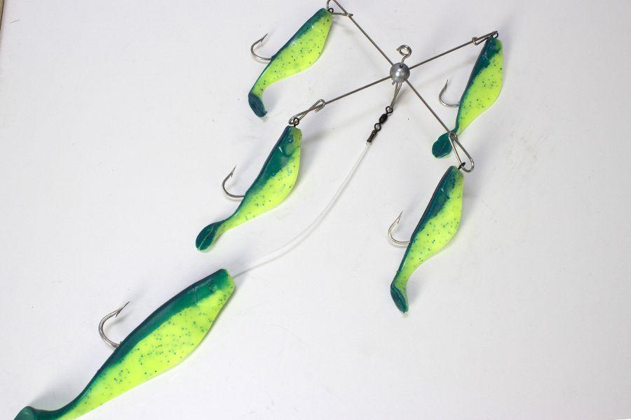 7 chartreuse kayak umbrella rig rigs for Umbrella rig fishing