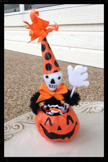 Halloween Decoration Skeleton Man in a Jack o Lantern by JeanKnee - halloween decorations skeletons