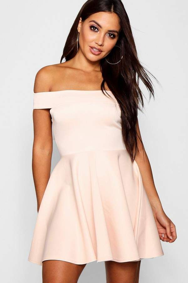 f28f9ab8e52e boohoo Off The Shoulder Skater Dress | Rose Gold | Dresses, Skater ...