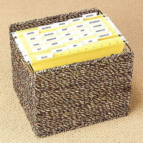 Decorative File Storage Boxes With Lids Seagrass Two Tone Collapsible File Basket No Lid  Get Organized