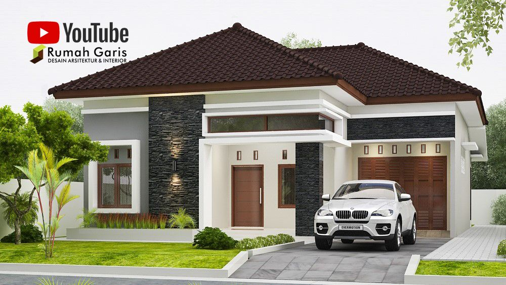Front View Home Design 1 Floor Small House Modern Minimalis Roof Shield Side Garage Terrace Di 2020 Rumah