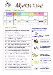 English worksheet Adjective Order English grammar