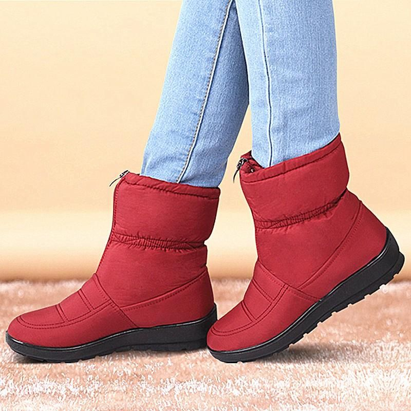 Womens Winter Warm Ankle Snow Boots Women Fur Buckle Flats Suede Shoes Size 10.5