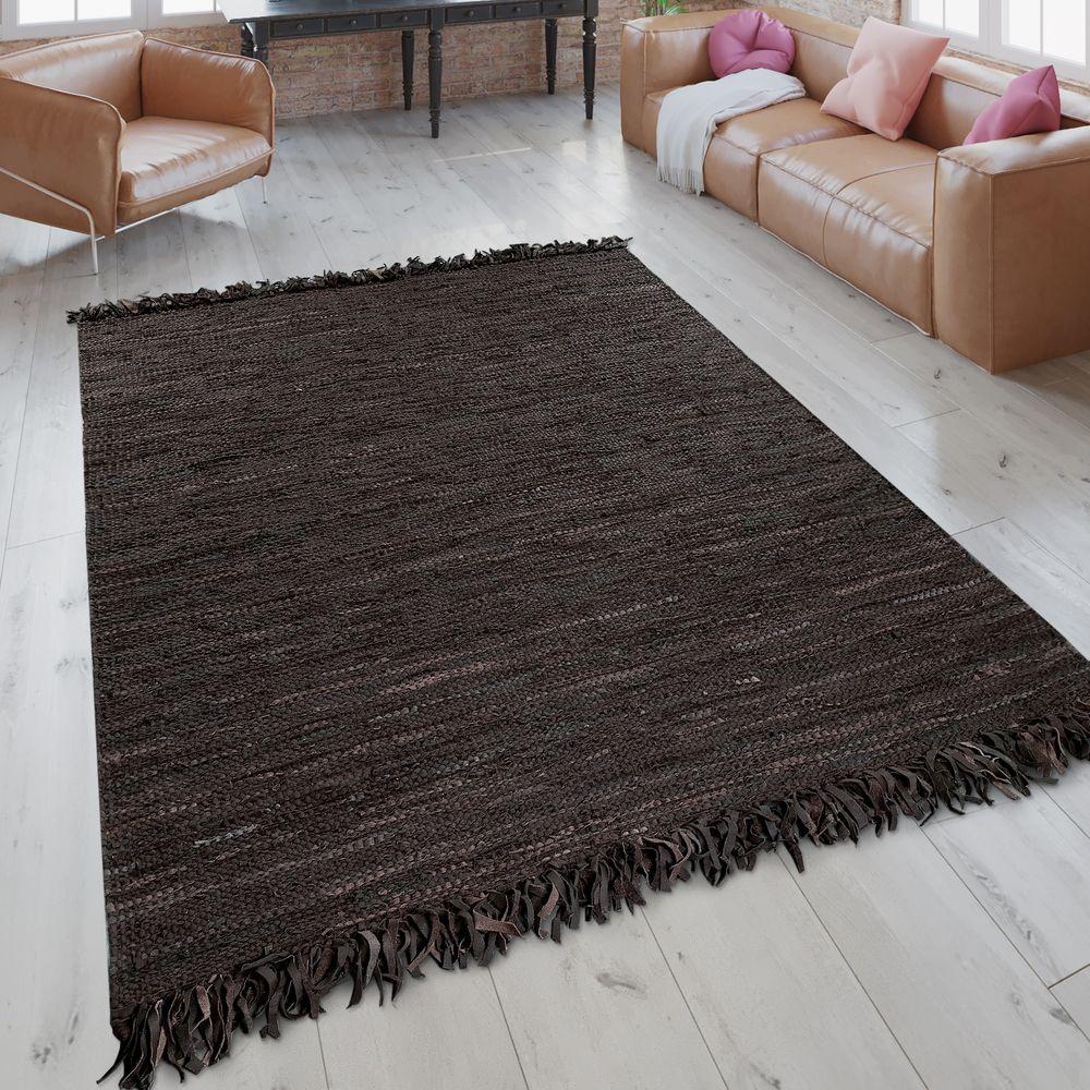 Trend Lederteppich Mit Fransen Braun Teppich Braun Lederteppiche Und Teppich Design