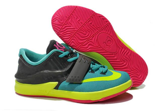 18ebceb40195 Turquoise Yellow Pink Black Kids Size Basketball Shoes Nike Zoom KD 7