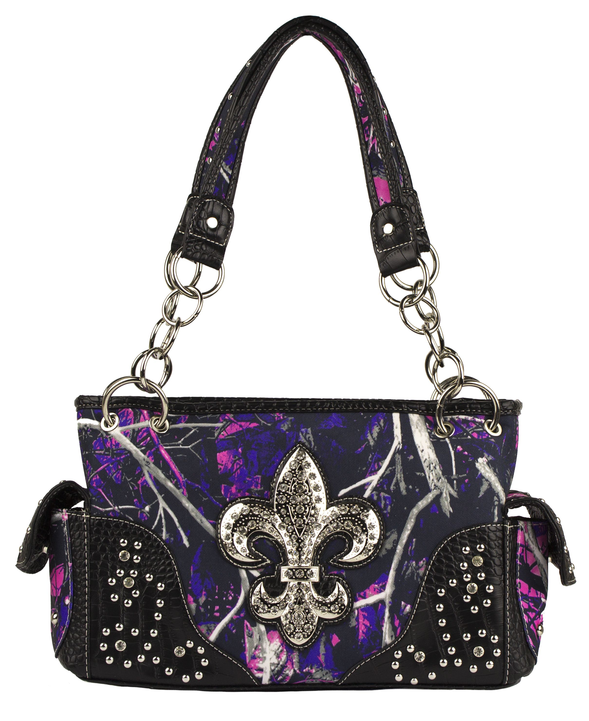 693ad4434b7b Moon Shine Muddy GIrl Conceal   Carry Handbag! Large Rhinestone Fleur De  Lis!