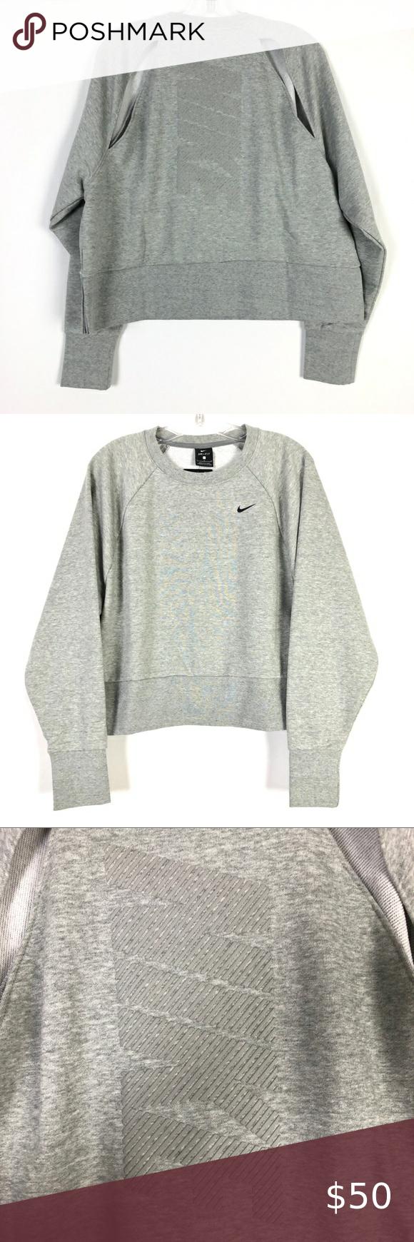 Nike Dri Fit Fleece Cropped Crew Heather Gray Top Clothes Design Grey Top Heather Grey [ 1740 x 580 Pixel ]