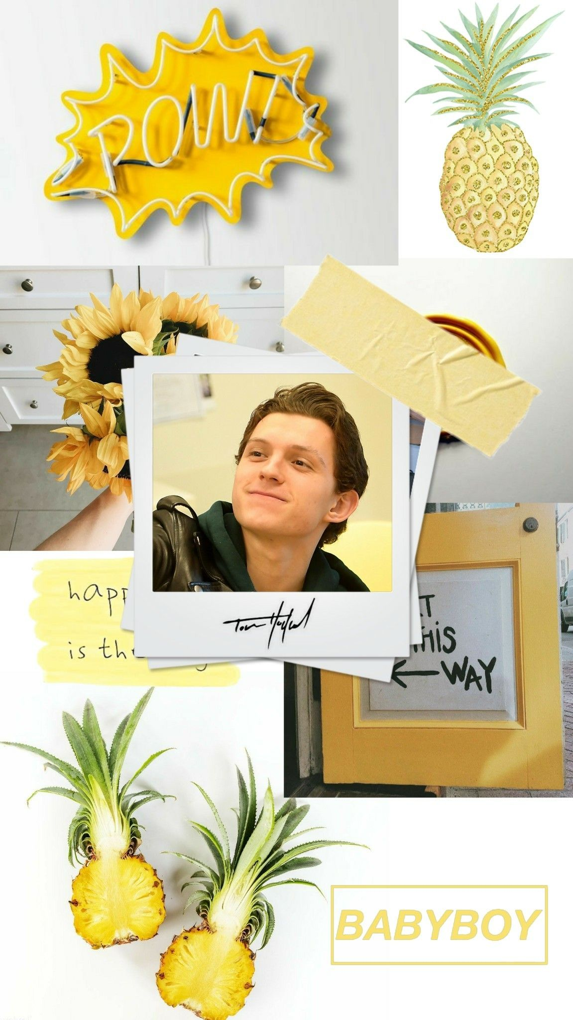 lockscreen Tom Holland yellow amarelo hiddlesmisha