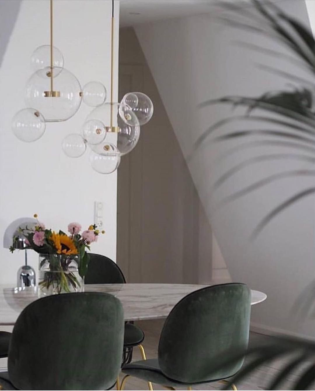 Soft And Sumptuous Beetle Chairs Create A Marvellous Dining Table Scenario!  Photo Via