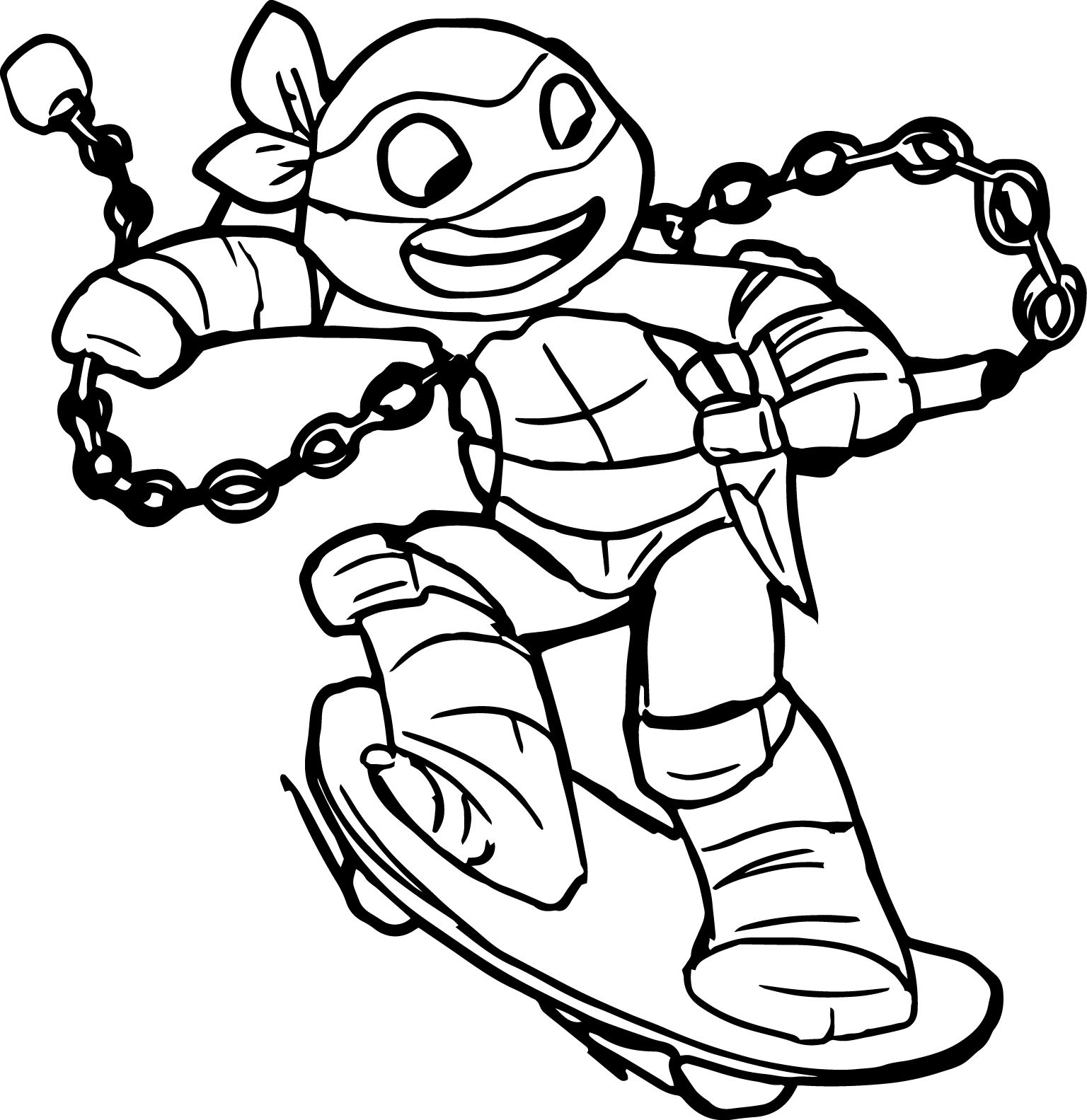 Coloring online ninja - Ninja Turtle Going On Skater Coloring Page Jpg