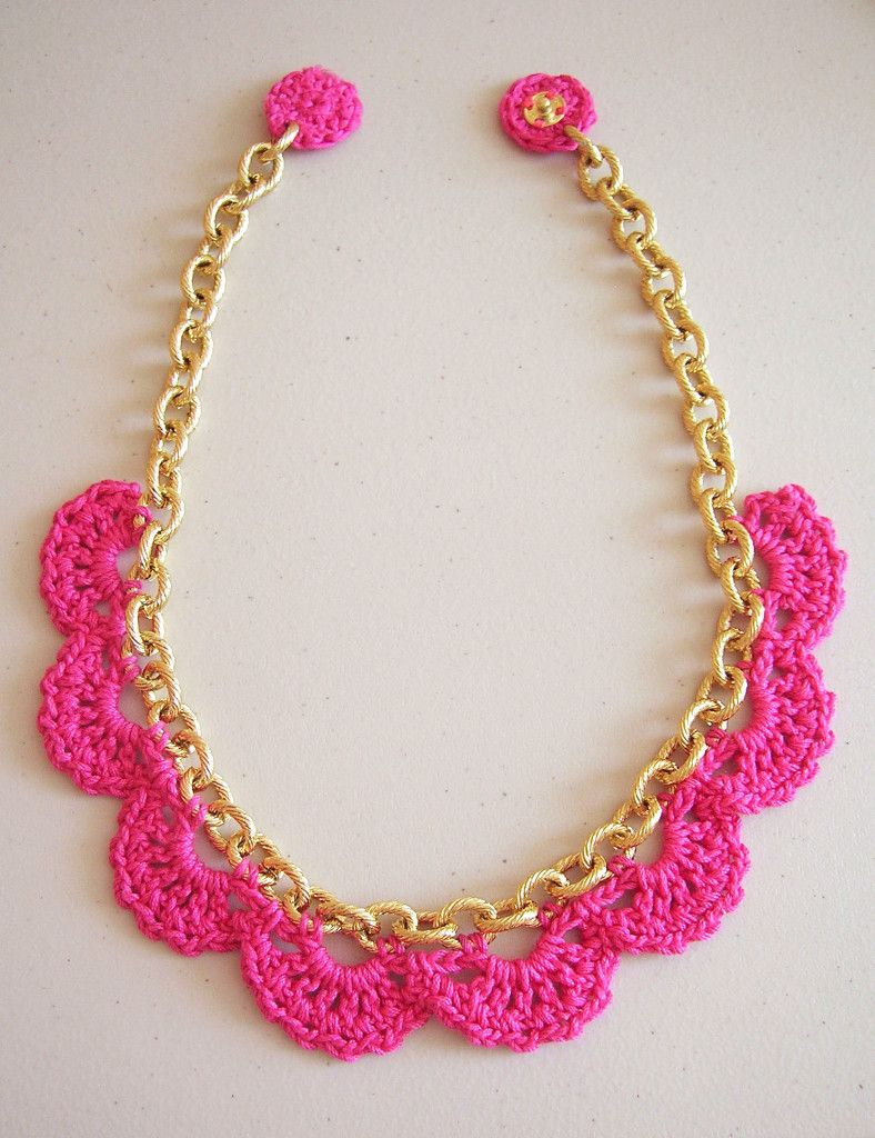 Crocheted Chain Necklace (with pattern) | collares | Pinterest ...