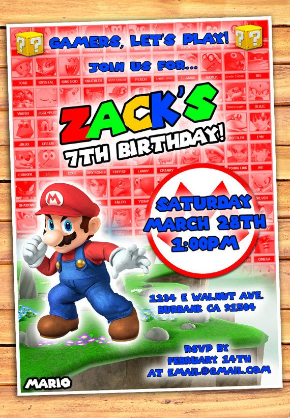Mario birthday invitation super mario brothers invitation video mario birthday invitation super mario brothers invitation stopboris Choice Image