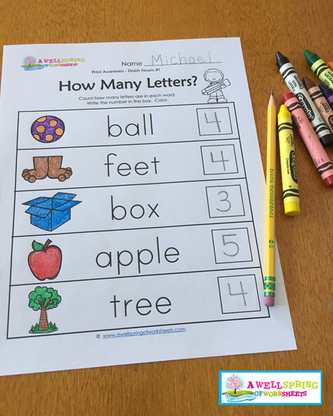 Print Awareness - How Many Letters? Sorting & Counting Worksheets ...