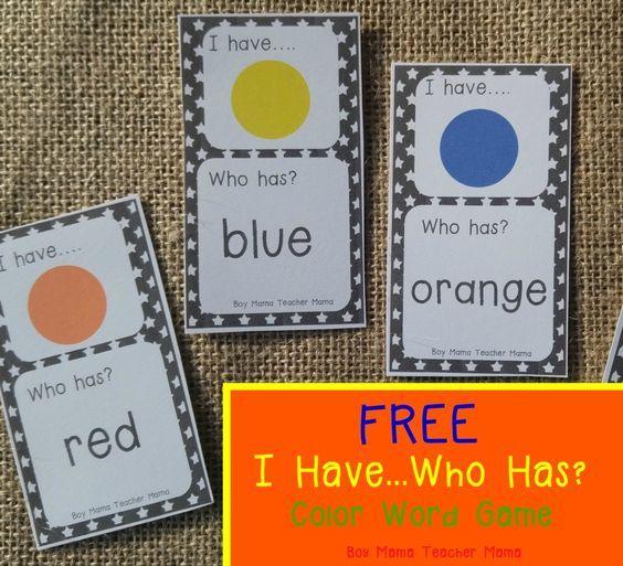 Free I Have Who Has Color Words Game Color Word Activities Kindergarten Games Preschool Colors