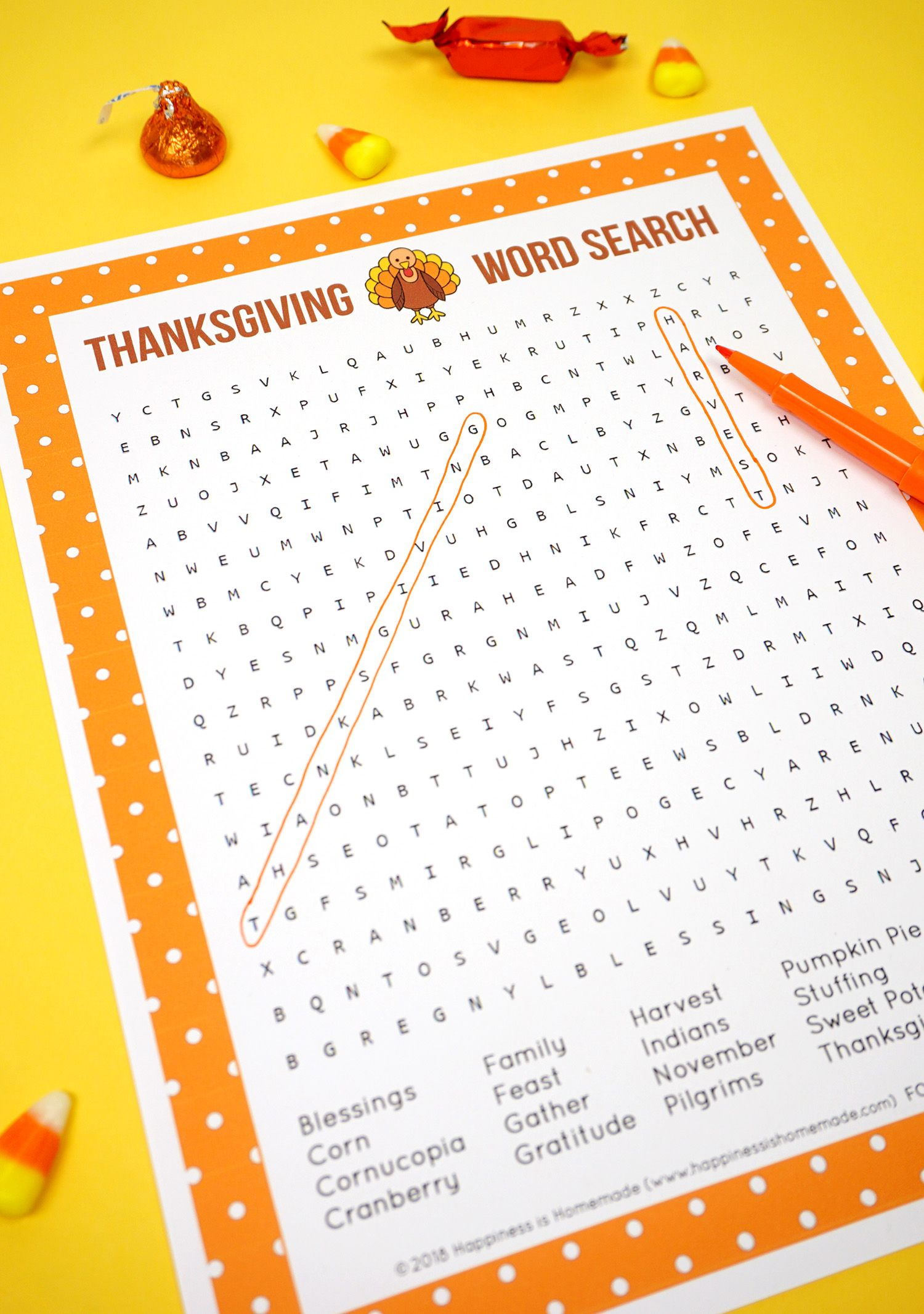 Thanksgiving Word Search Printable - Happiness is Homemade ...