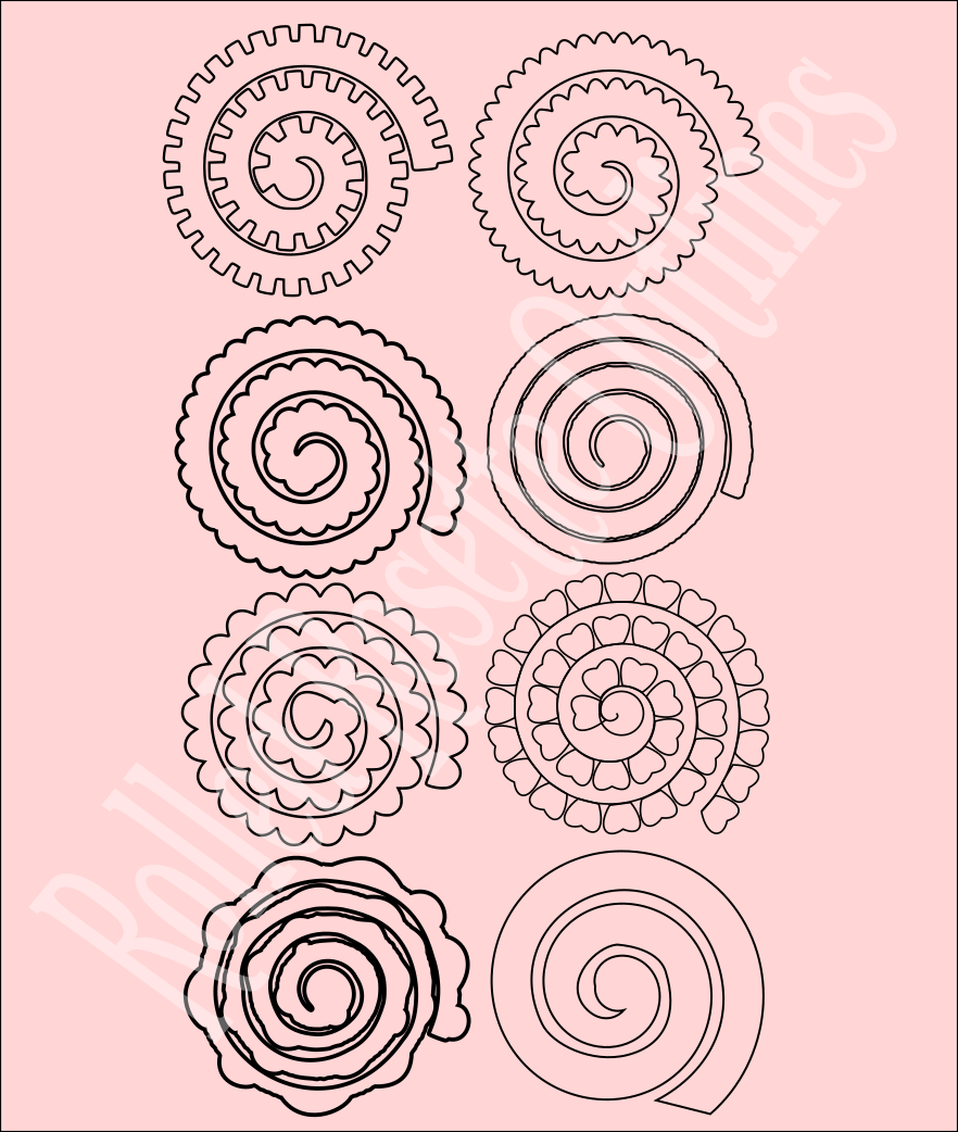 Rolled rosette flower templates paper flowers for Rolled paper roses template